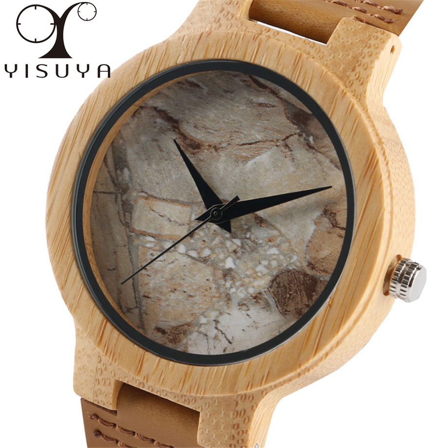 YISUYA Marble Grain Dial Quartz Wristwatch Bamboo Wood Watches Mens Male Fashion Stylish Casual Brown/White Genuine Leather Gift
