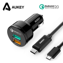 AUKEY Pour Qualcomm Charge Rapide 2.0 2-Port USB Chargeur De Voiture Charge Adaptative 30 W Voiture-Chargeur pour Mobile Téléphone Xiaomi Gallaxy S8