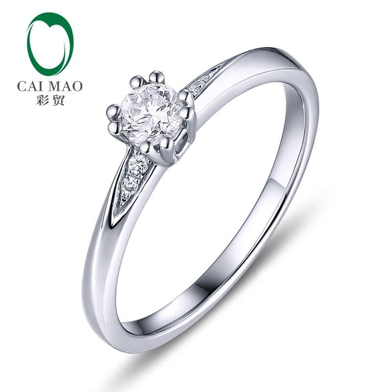CaiMao 0.18ct Natural Round F VS Diamond 14K White Gold Engagement Wedding Ring for women caimao 0 18ct natural round f vs diamond 14k white gold engagement wedding ring