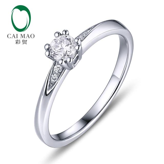 CaiMao 0.18ct Natural Round F VS Diamond 14K White Gold Engagement Wedding Ring for women