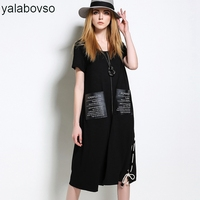 2018 Summer Plus size O Neck Long Black Styles Sexy Lady Dress Loose Summer Dresses for woman with 5XL size A0A 8012Z30