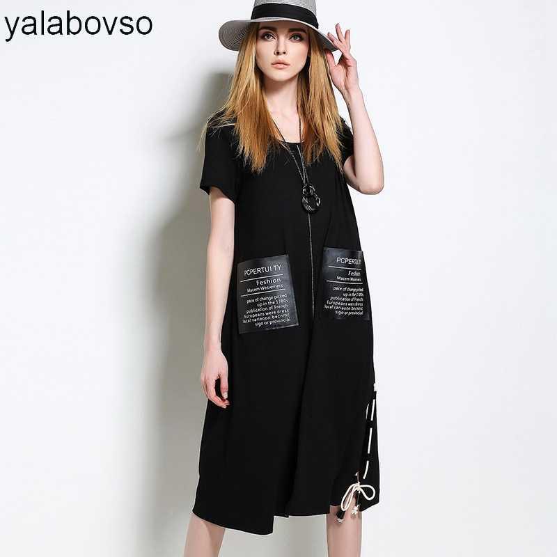 2361e93b3ee 2018 летние Большие размеры с круглым вырезом длинные черные стильные  пикантные женская обувь свободные летние платья