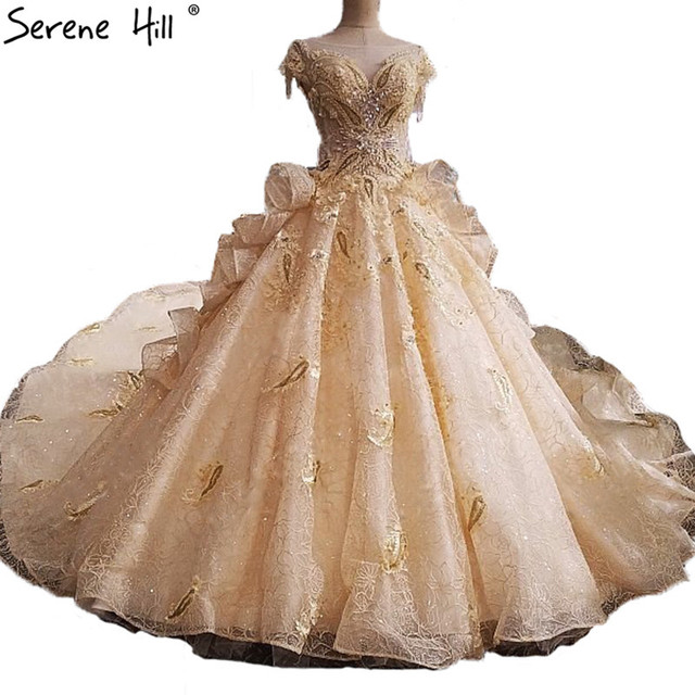 2017 Fashion Luxury Y Bridal Wedding Dresses Pearls Sequined Lace Train High End Gowns Vestido De Noiva