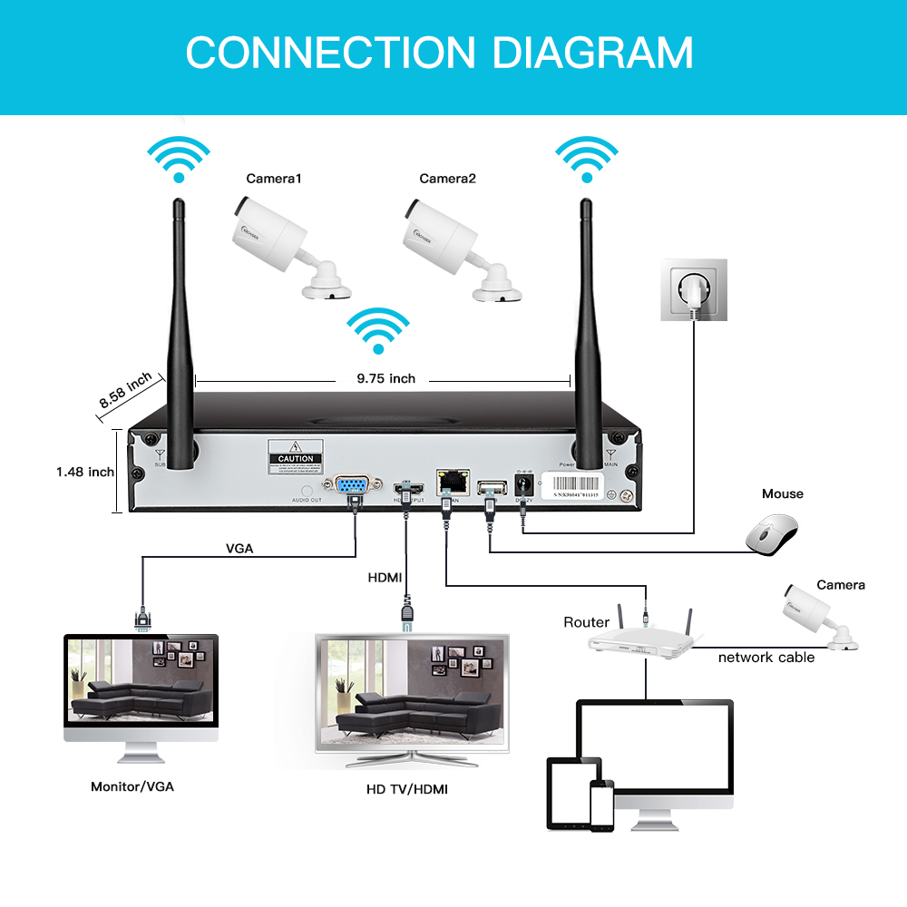 Woaser 8ch 960p Wireless Nvr Plug Play 8pcs 720p 10mp Outdoor Wiring Diagram Waterproof Ir Night Vision Security Ip Camera Wifi Cctv System In Surveillance From