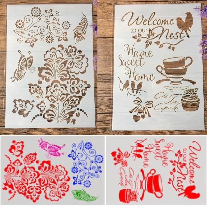 1Pair A4 Butterfly Bird Nest Cup DIY Craft Layering Stencils Painting Scrapbooking Stamping Embossing Album Paper Template