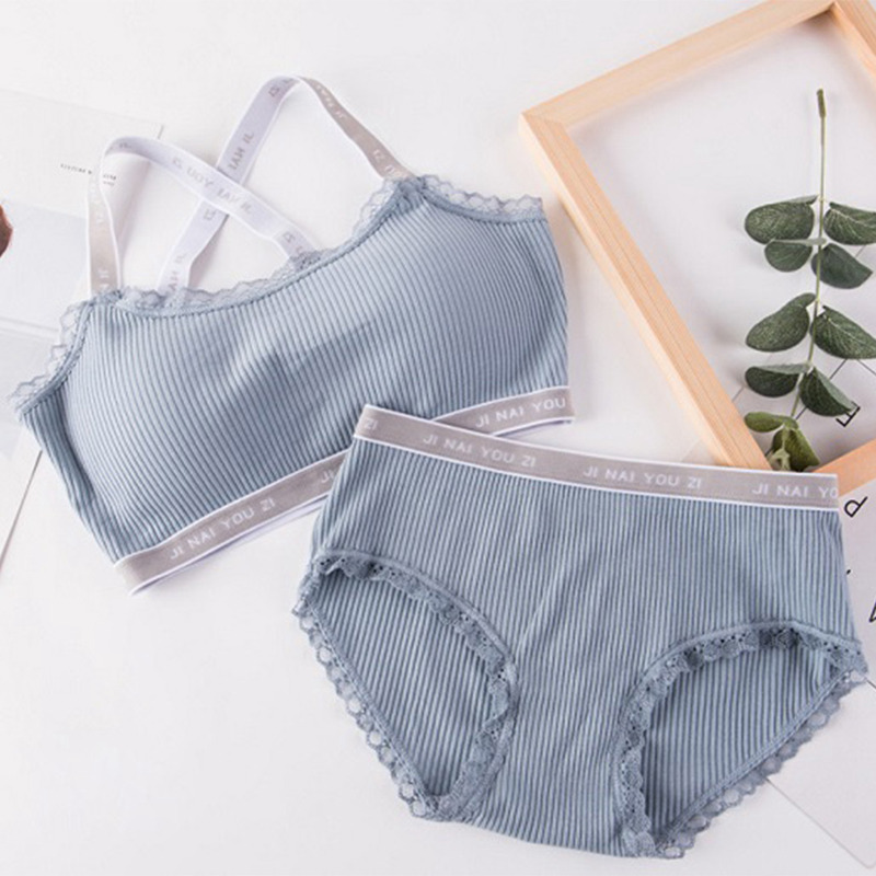 Women Letters Print Underwear   Set   for Women Solid Color   Bras  +Panties   Set   Comfortable Wireless Lingerie   Bra     Set