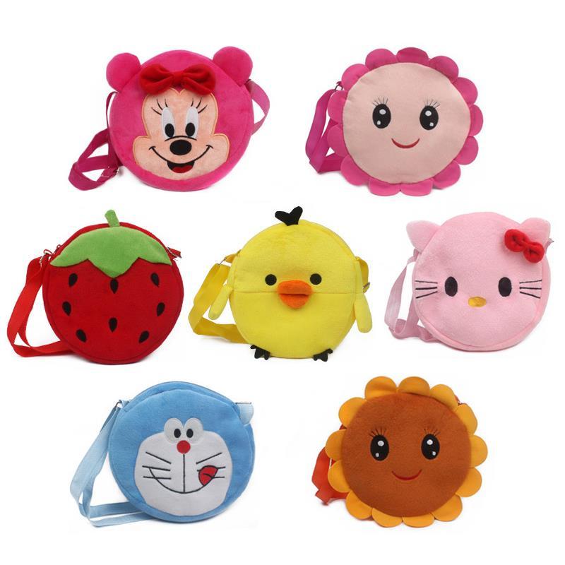 Cute plush shoulder bag Strawberry Sunflower Minnie hellokitty yellow duck pokonyan toys kids handbags cartoon mini satchel