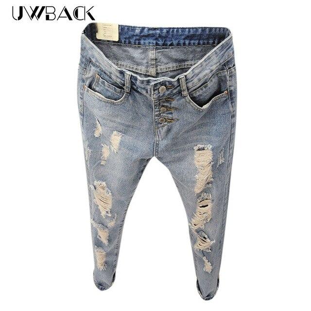 Uwback 2017 nueva marca de estilo de verano de las mujeres jeans agujeros rasgados pantalones harem jeans delgado vintage boyfriend jeans para mujeres tb493