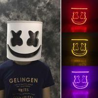 DJ Full Head Mask Marshmello Helmet LED Luminous Bar Music Cosplay Party Props