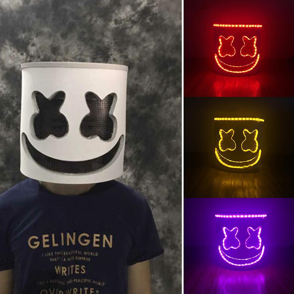 DJ tête pleine masque Marshmello casque LED barre lumineuse musique Cosplay accessoires de fête