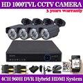 1080 P CCTV DVR 4 PCS 1000TVL IR-CUT interior sistema de câmera de segurança de vigilância 4CH