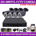 HDMI 1080P CCTV DVR System 4PCS 1000TVL  IR-CUT indoor Outdoor Security Camera Home Surveillance System 4CH