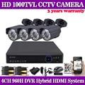 Hdmi 1080 P CCTV sistema DVR 4 unids 1000TVL IR-CUT seguridad interior exterior sistema de vigilancia 4CH