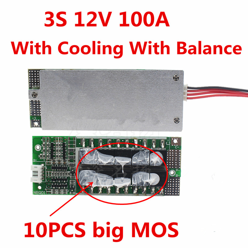1PC 3S 100A 12V Li-ion Lithium Battery Protection Board BMS Inverter UPS Battery Box Energy Storage Protection Board 12v 100a 4s bms li ion li polymer lithium polymer limno balance charging board battery protection circuit board 14 4 14 8 16 8v