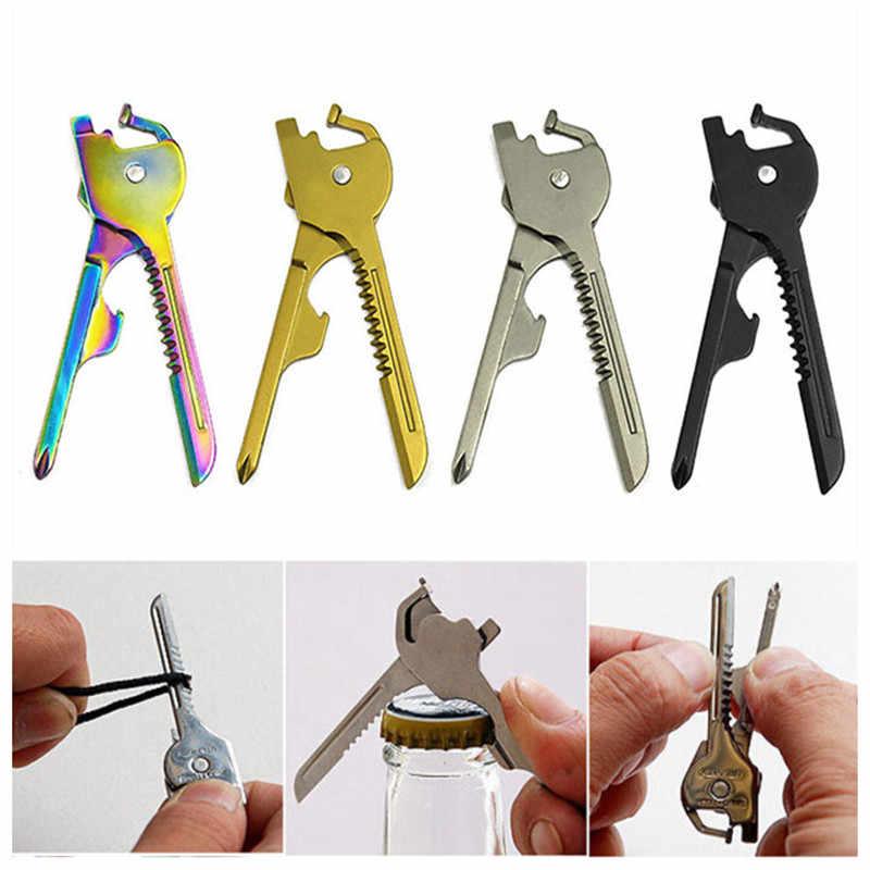 Multi-usages multi-utili clé forme anneau couteau ouvre-poche porte-clés Kit outil survivre Edc Mini utilitaire tactique tournevis Gear
