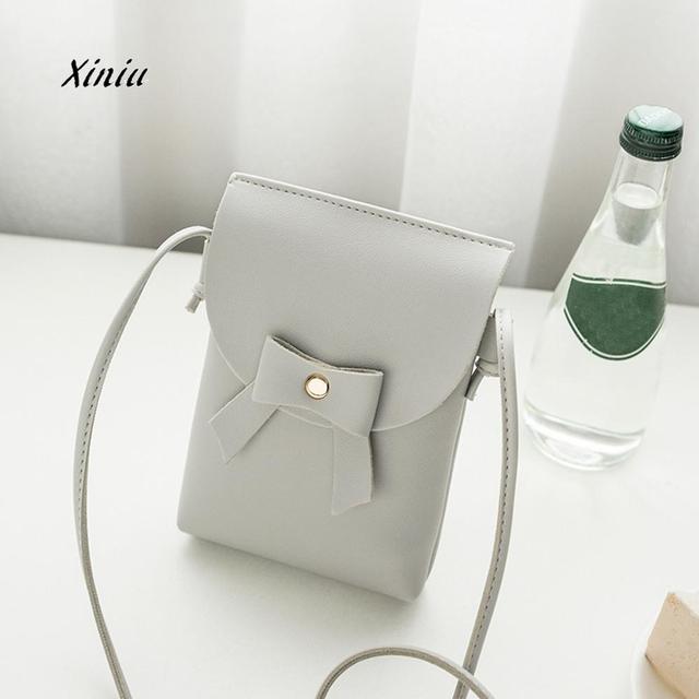 bbb0d095e120 2018 Мода Сумка Для женщин лук Crossbody сумка женский высокое качество из искусственной  кожи телефон монет