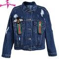 European 2017 Spring Blue Black Women Denim Jacket Embroidery Bee Coat Long Sleeve Jeans Jacket Women Jaqueta Jeans