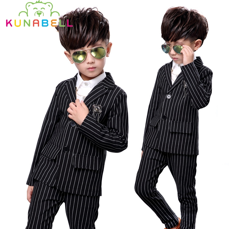 Fashion Kids Boy Wedding Suit White Black Gentle Boys Stripe Jacket Shirt Pants Formal Suit Children Spring Clothing Set B032
