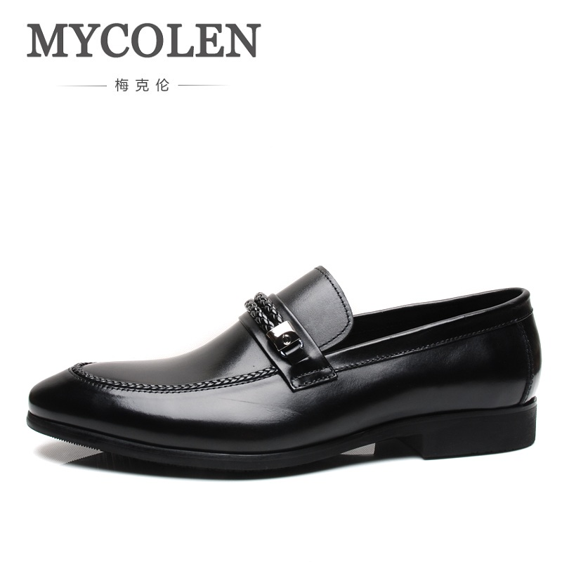 MYCOLEN Fashion Genuine Leather Men Dress Shoes Pointed Toe Oxfords Shoes Male Casual Business Breathable Luxury Shoes 2017 new spring imported leather men s shoes white eather shoes breathable sneaker fashion men casual shoes