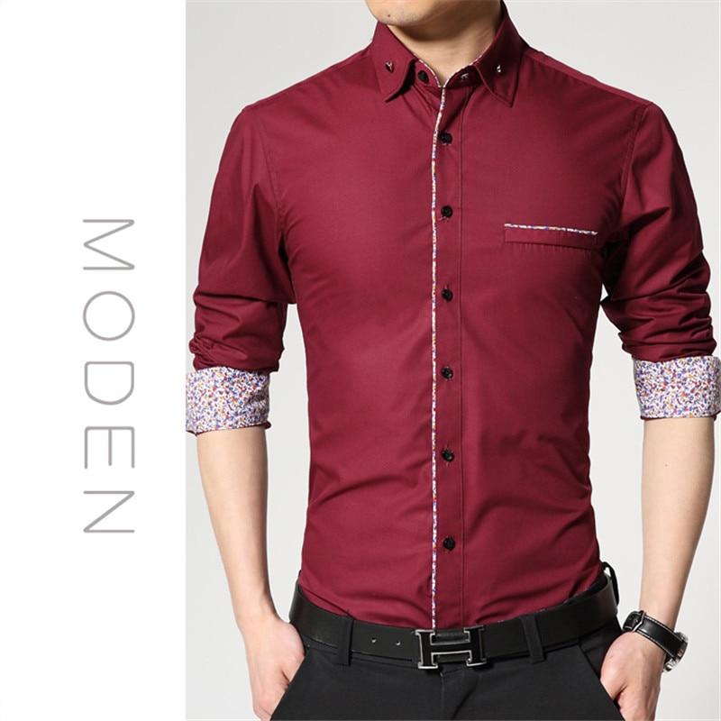Hot Sale 2017 New Fashion Casual Men Shirt Long Sleeve Print Slim ...