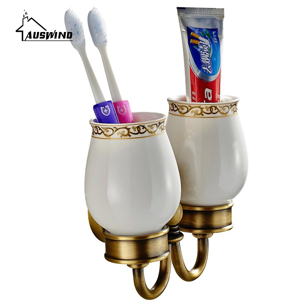 European Antique Cup & Tumbler Holders Brass Carved Gold Double Cup Toothbrush Holder Pvd Coating Bathroom Products AC washroom bathroom double toothbrush holder gold european style copper tumbler