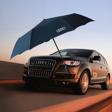 8 К высокое качество bussiness Audi натуральной кожи ручки бренд солнце дождь Зонтик 3 Складной Анти-УФ Французский королевский Зонт