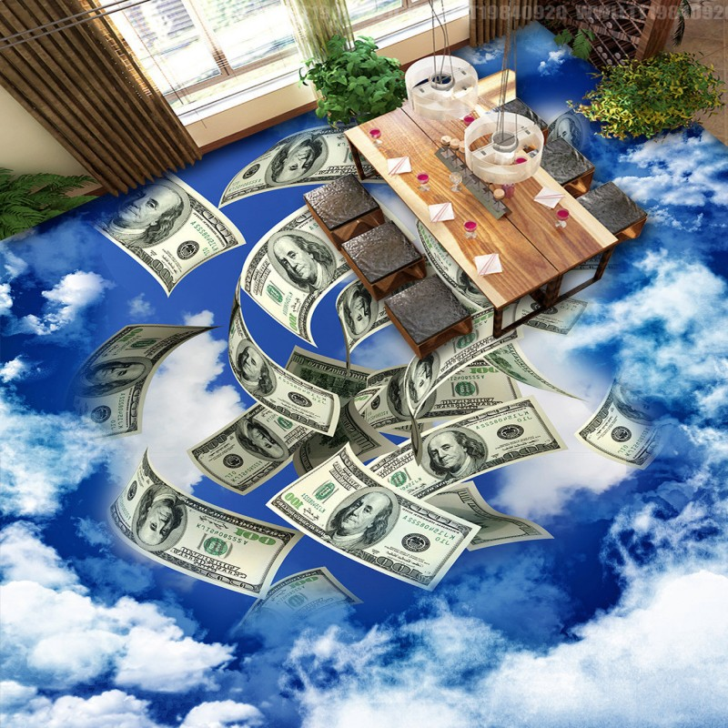ФОТО Free Shipping Floating Paper Money 3D Stereo Painting floor wallpaper office supermarket decoration self-adhesive floor mural