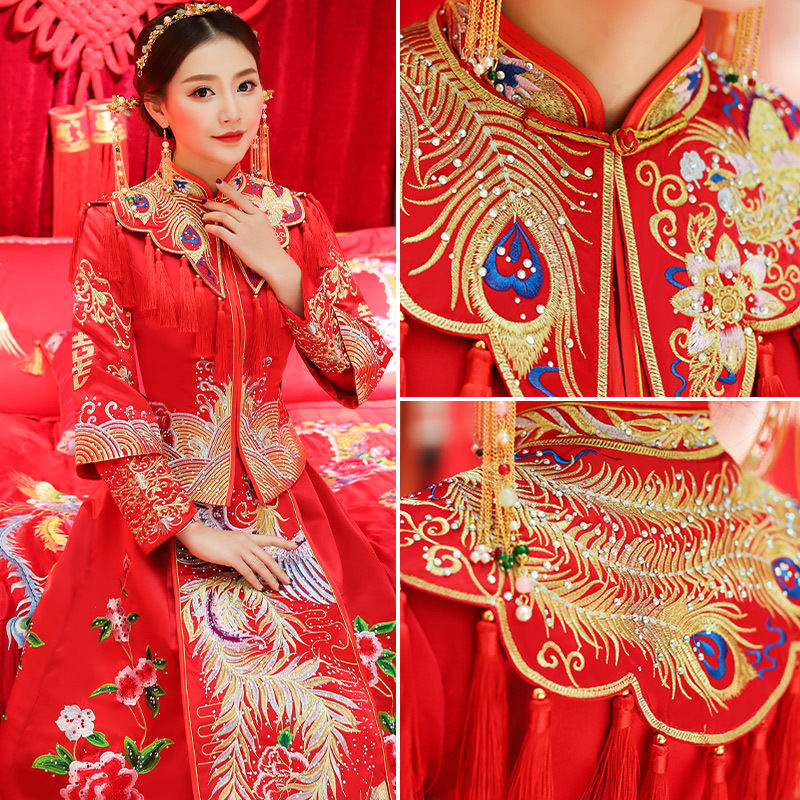 7a571be5a Nueva dama roja matrimonio clásico juego de vestido Floral bordado estilo  chino Cheongsam novia de la boda elegante vestidos de noche S XL en  Cheongsams de ...