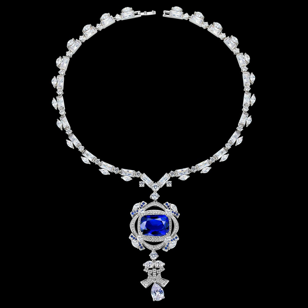 Grand luxe bleu foncé AAA cubique zircone bijoux pendentif collier de mariée de mariage bijoux cadeau