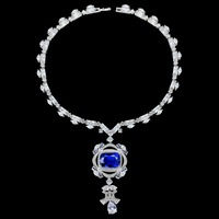 Luxury Big Dark Blue AAA Cubic Zirconia Jewelry Pendant Necklace Bridal Wedding party Jewelry Gift