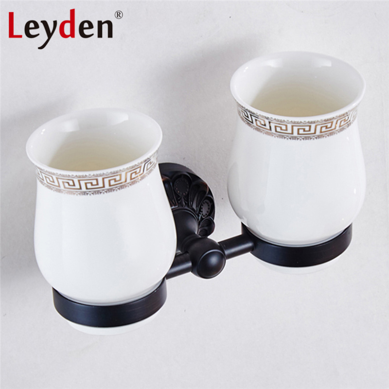 Leyden Oil Rubbed Bronze Toothbrush Tumbler Holder Brass Toothbrush Holder& Ceramic Cup Wall Mounted ORB Bathroom Accessories