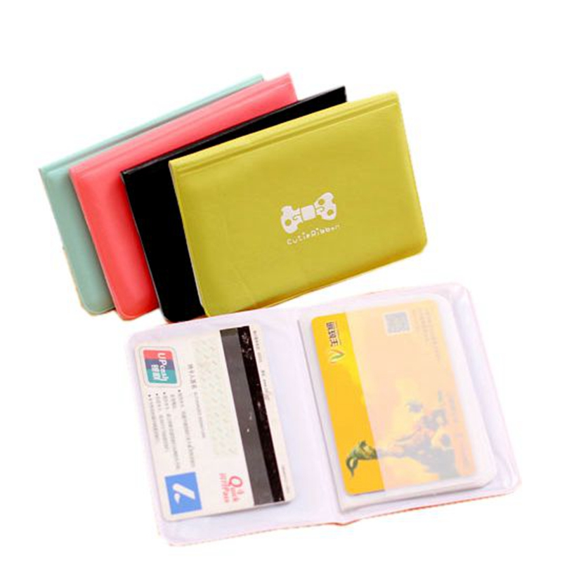 Cute Bow Credit Card Holder Women Men 12 Bits PU Leather Buckle Business Cards ID Card Holder Passport Card Holder Wallet Bag fashion solid pu leather credit card holder slim wallet men luxury brand design business card organizer id holder case no zipper