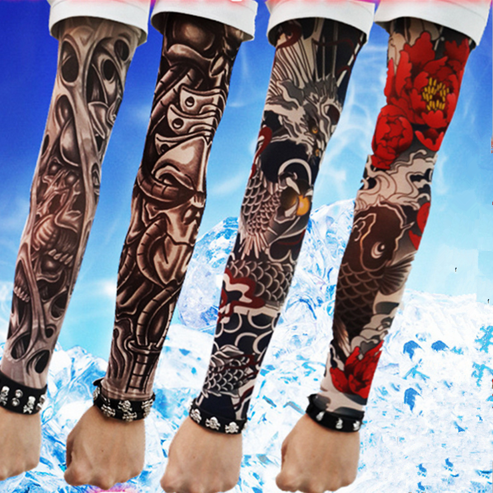 Long Sleeve Fake Tattoo Clibe Bicycle Beach Tattoo Arm Warmers Cuff Skull/Flowers/Spider Sleeve Cover UV Sun Protection New 4PC
