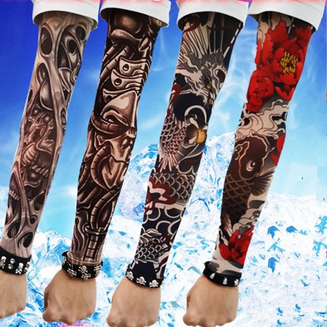 Long Sleeve Fake Tattoo Clibe Bicycle Beach Tattoo Arm Warmers Cuff ...