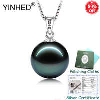 Sent Silver Certificate ! YINHED 100% 925 Sterling Silver Jewelry Black Pearl Pendant Necklace for Women Birthday Gift ZN137