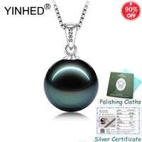 Gesendet Silber Zertifikat! YINHED 100% 925 Sterling Silber Schmuck Schwarz Perle Anhänger Halskette für Frauen Geburtstag Geschenk ZN137