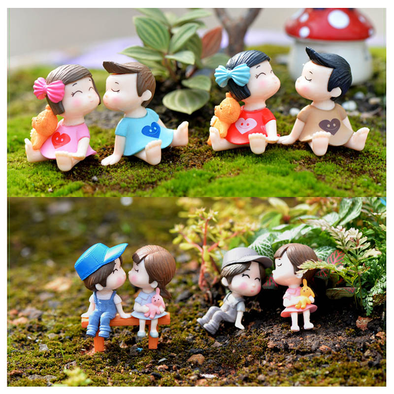 Chair Figurines Miniatures Terrariums Sweety Lovers Couple Home Decor Fairy Garden Resin Crafts 1 Pair Boy Girl Moss
