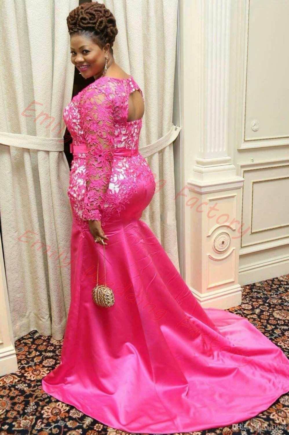 2017 Plus Size Hot Pink Long Sleeve Lace Mermaid Evening Prom