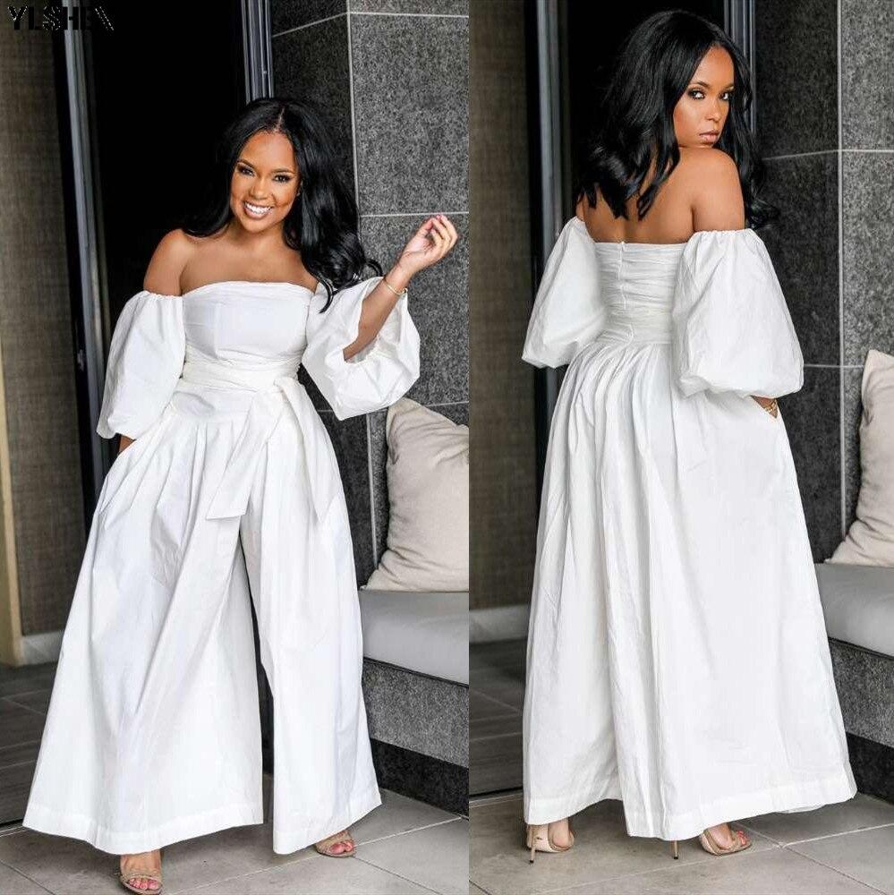 Sexy Off Shoulder White Jumpsuits For Women 2019 Plus Size Long Sleeve Elegant Cotton Ladies Wide Leg Pants Jumpsuit Overalls