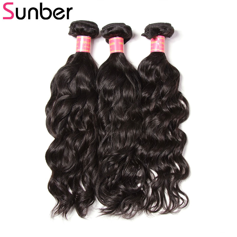 SUNBER HAIR Brazilian Natural Wave Human Hair 3 Bundles 8-26 Inches 100g/pc Double Weft Remy Hair Weaves Free Shipping