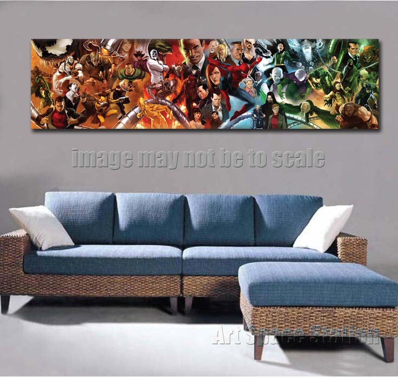 giant superheros marvel dc comics movie poster print 62x 16 pop art giclee canvas art wall pictures home decoration no frame