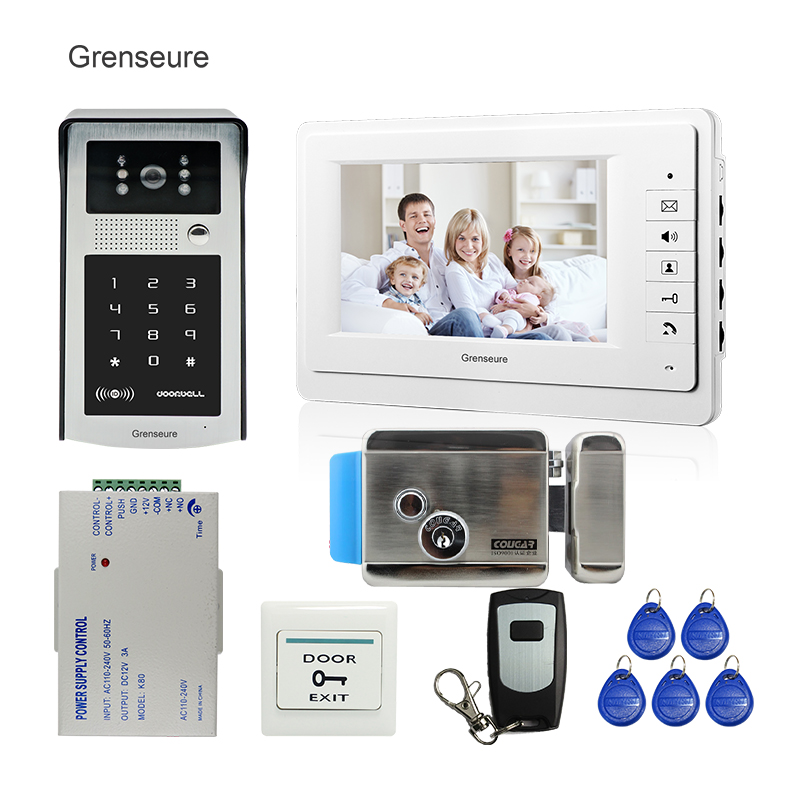 FREE SHIPPING 7 LCD Screen Video Intercom Door Phone System + Outdoor RFID Code Keypad Doorbell Camera + Remote + Electric Lock grenseure free shipping 9 lcd monitor video intercom door phone system rfid code keypad outdoor camera electromagnetic lock