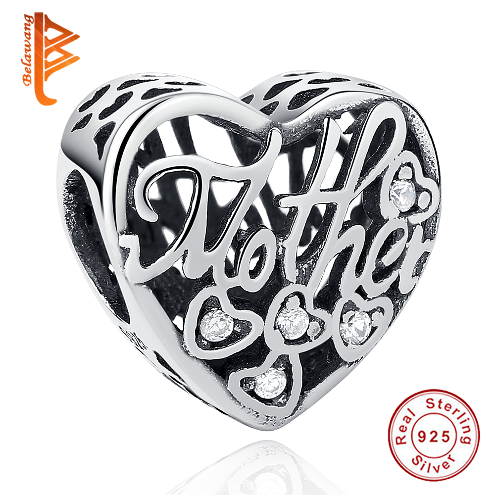 BELAWANG 925 Sterling Silver MOTHER & SON Bond Heart Charms Fit Original Pandora Charm Bracelet Authentic Jewelry Accessories
