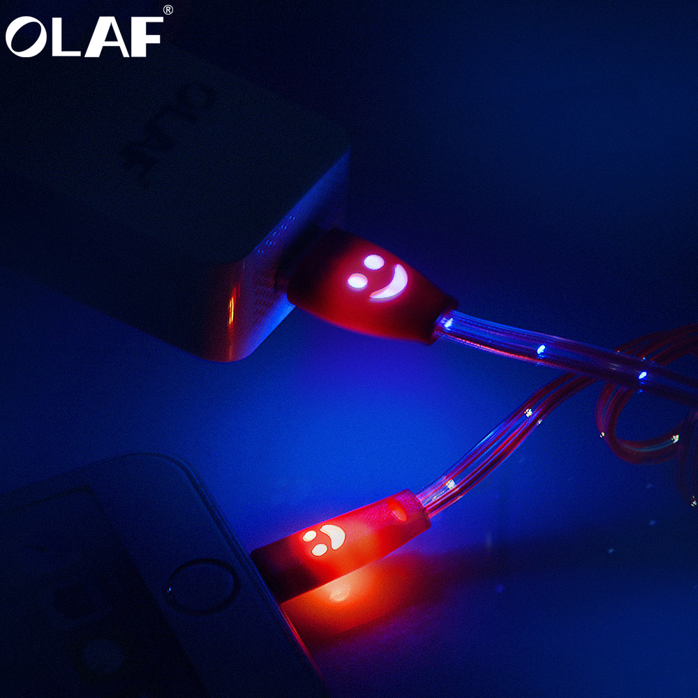 OLAF Micro USB Glowing LED light Fast Charge Data Smile Mobile Phone Cable For Samsung Xiaomi Redmi Android USB Charging Cord 1M