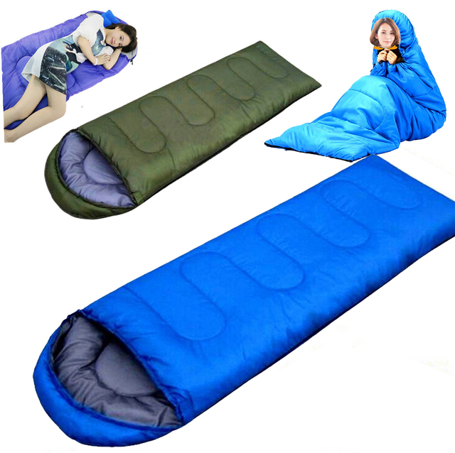 Portable Outdoor Ultralight Fabric Envelope Sleeping Bag With Cap Hiking Camping Travel Lunch Break