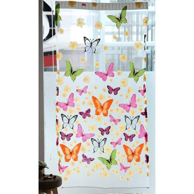 Chiffon Butterfly Pattern Wall Decoration Transparent Curtain Scarf Shawl Window