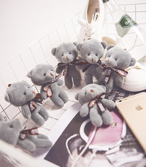 Promotion Korea Bear 20pcs/lot 12cm lovely exquisite small plush toy teddy bear,Wedding Bouquet Animal soft plush doll Keychain the lovely bow bear doll teddy bear hug bear plush toy doll birthday gift blue bear about 120cm