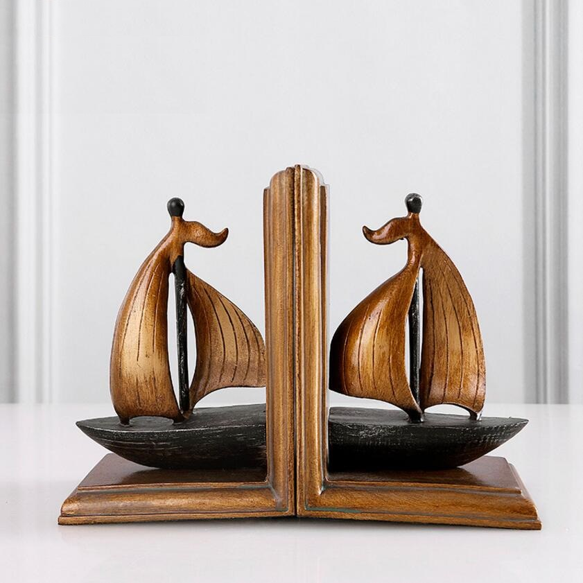 Vintage Style Decorative Sailboat Sailing boat Sailing ship Design Resin Bookshelf Bookends 12cm(L)*17cm(H)*9cm(W) voyager 2 4g mini rc sailboat sailing yacht educational toy ready to run enjoy sailing fun