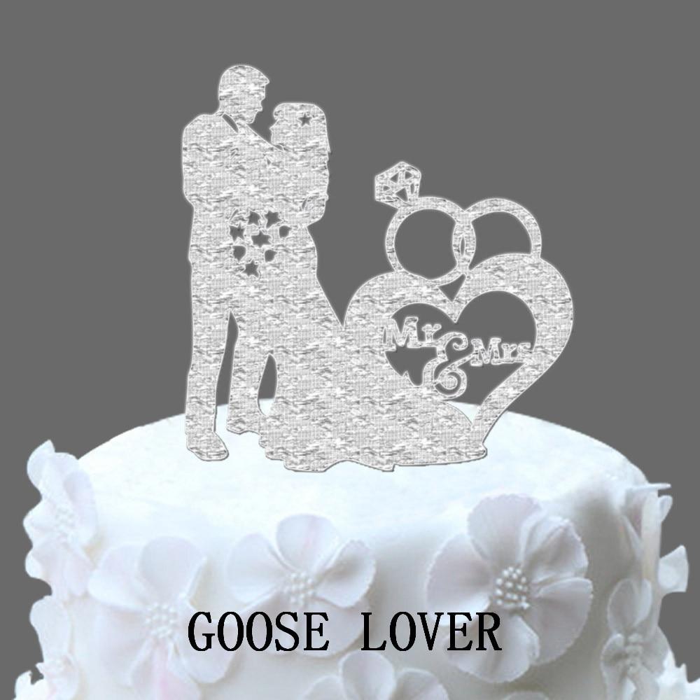 Wedding Cake Recipe Custom History: Romantic Ring Custom Wedding Cake Topper Silhouette Bride