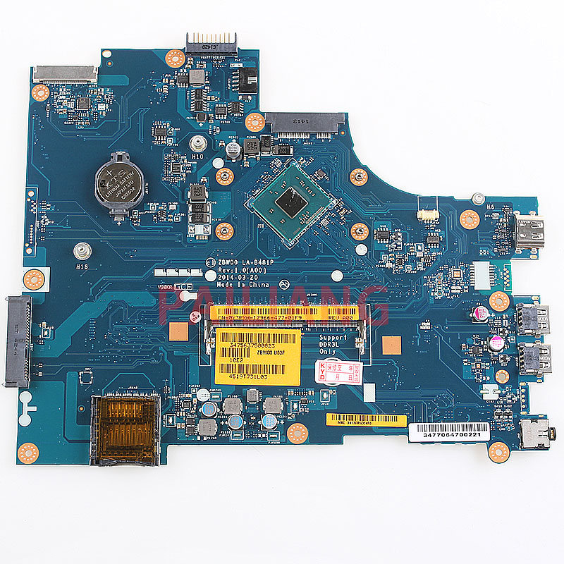 Laptop motherboard for DELL Inspiron 15 3531 PC Mainboard N3530 CPU 0Y3PXH LA B481P full tesed